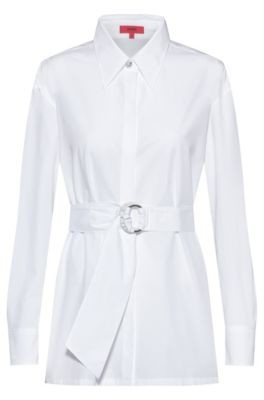 HUGO BOSS Relaxed Fit Cotton Blouse With Fabric Belt - White
