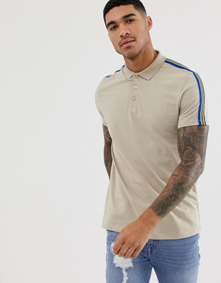 BEIGE Asos Design ASOS DESIGN organic polo shirt with rainbow shoulder taping in