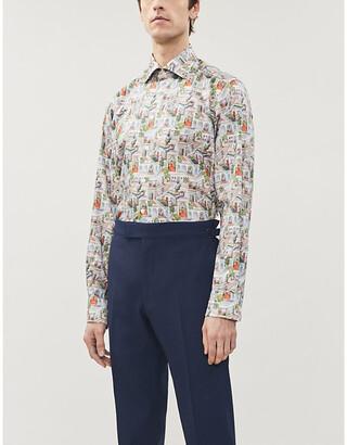 Eton Landscape-print contemporary-fit cotton-twill shirt