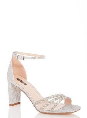 Dorothy Perkins Womens Quiz Silver Shimmer Diamante High Heel Sandals, Silver