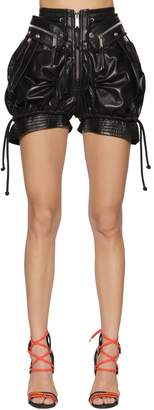 DSQUARED2 High Waist Leather Military Shorts