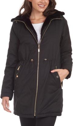 Rachel Roy Reversible Faux Fur Rain Coat