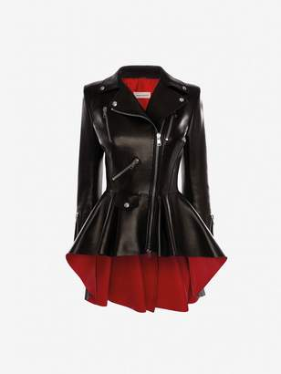 Alexander McQueen Bi-Color Leather Biker Jacket