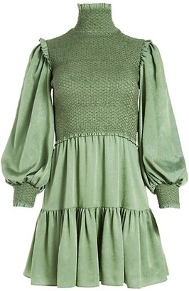 Alice + Olivia Elvira Smock-Bodice Puff-Sleeve A-Line Dress