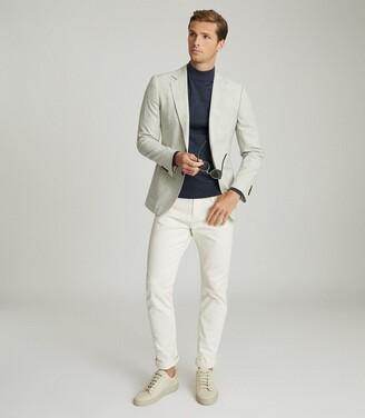 Reiss Edition - Textured Wool Blend Blazer in Soft Grey