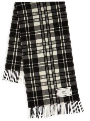 Ami Paris Plaid Wool Scarf