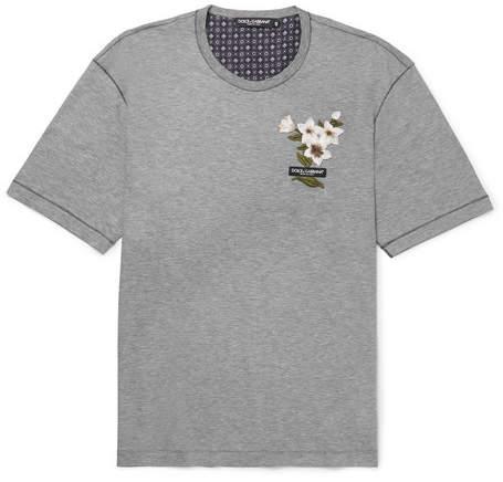 Dolce & Gabbana Appliquéd Cotton And Silk-Blend Jersey T-Shirt