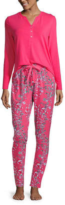 Liz Claiborne Womens-Petite Pant Pajama Set 2-pc. Long Sleeve