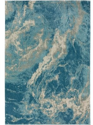 "Orren Ellis Vonore Blue/Gray/Beige Rug Rug Size: Rectangle 5'1"" x 7'5"""