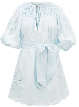 Innika Choo Hans Ufmafrok Embroidered Linen Mini Dress - Light Blue