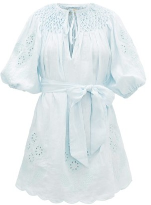 Innika Choo Hans Ufmafrok Embroidered Linen Mini Dress - Womens - Light Blue