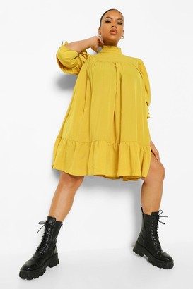 boohoo Plus High Neck Puff Sleeve Smock Dress