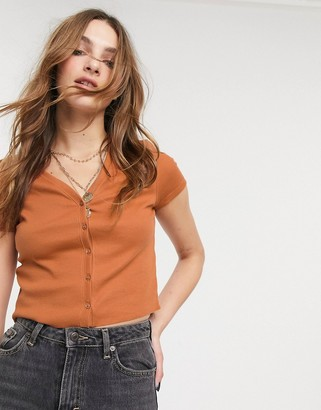 Topshop button front cardigan in rust