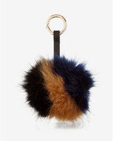 Express ok originals brown and black faux fur pom keychain and bag charm