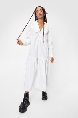 Nasty Gal Womens Oversized V Neck Long Sleeve Maxi Dress - White - 4