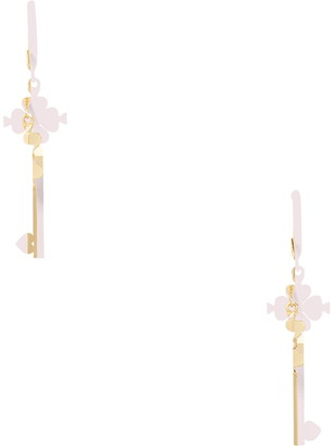 Kate Spade lock & spade legacy CZ logo drop earrings
