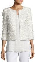 St. John Sahara Fringe 3/4-Sleeve Jacket, Cream