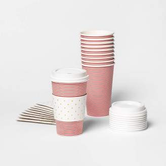 sugar paper Red Stripe Disposable Hot Cups with Sleeve 16oz Set of 10 - sugar paperTM