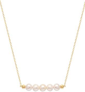 GABIRIELLE JEWELRY 22K Gold Vermeil 3MM-4MM Freshwater Pearl Bar Pendant Necklace