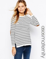 Asos Sweater in Stripe With Suedette Elbow Patch