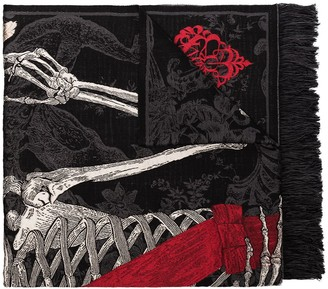 Alexander McQueen Queen of Hearts skeleton print scarf