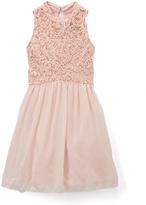 Speechless Pink Lace-Bodice Halter Dress - Girls