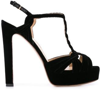 Francesco Russo Braided Velvet Sandals