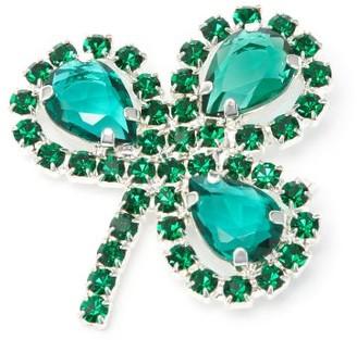 Art School Clover Crystal-embellished Brooch - Green