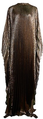 Oscar de la Renta Metallic Lame Pleated Caftan