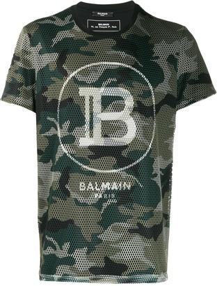 Balmain camouflage mesh T-shirt