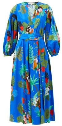 Borgo de Nor Mia Nature-print Flared Cotton Midi Dress - Blue Multi