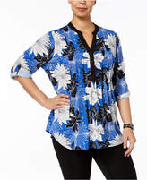 NY Collection Plus Size Printed Pleated-Yoke Tunic