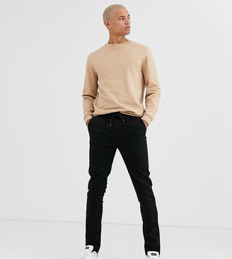 Asos DESIGN Tall skinny chinos with elastic waist in black