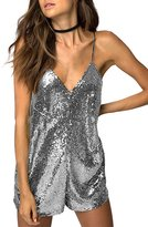 HaoDuoYi Womens Sexy Sleeveless V neck Sequin Romper Jumpsuit(S,)