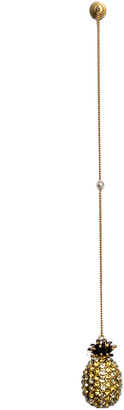 Gucci Multi Color Crystal Studded Pineapple Gold Tone Chain Single Long Earring
