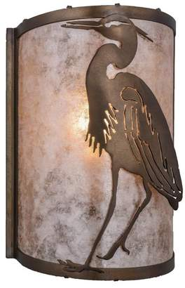 """Mica Meyda Lighting 8""""W Heron Left Wall Sconce, Antique Copper/Silver"""
