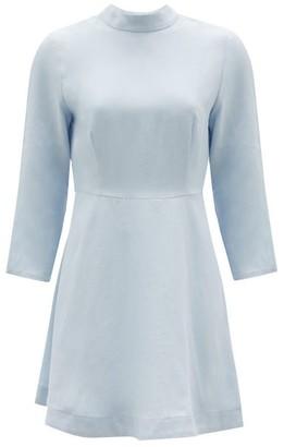 Casa Raki - Marcela High-neck Organic-linen Mini Dress - Light Blue