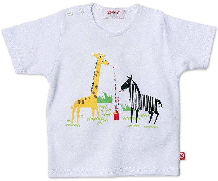 Zutano What A Zoo S/S Screen Tshirt - White-6 Months