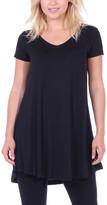 Brooke & Emma Women's Tunics BLACK - Black Short-Sleeve V-Neck Tunic - Women & Plus