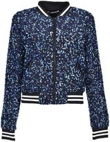 Alice + Olivia Sequin Embroidery Cropped Bomber Jacket