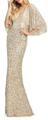 Mac Duggal Sequined Capelet Sheath Gown