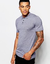 Asos Muscle Fit Knitted Polo Shirt in Blue Twist