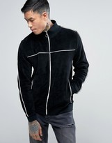 Asos Jersey Velour Track Jacket With Piping In Black