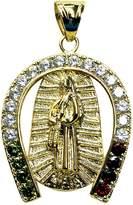 Mia 14kt GP Virgin Mary Guadalupe & Horseshoe CZ Pendant - Dije Virgen De Guadalupe Con Herradura