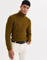 Asos Design DESIGN heavyweight fisherman rib roll neck sweater in khaki