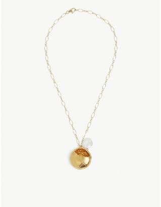 Alighieri Jaja 24ct yellow gold-plated bronze and freshwater pearl pendant necklace