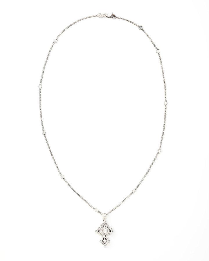 KC Designs Diamond Station Cross Pendant Necklace, White Gold