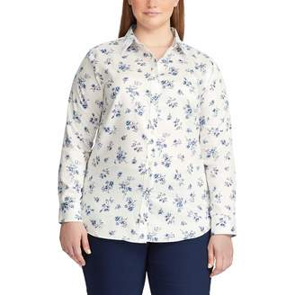 Chaps Women's Plus Size Long Sleeve Non Iron Cotton Sateen-Shirt