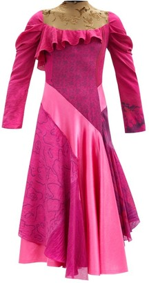 Marine Serre Upcycled Asymmetric Silk-satin Dress - Fuchsia