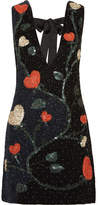 GANNI - Benson Embellished Crepe Mini Dress - Black